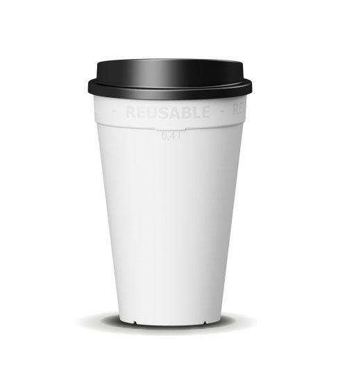 Ein weißer Coffee-to-go-Becher, der wiederverwendet werden kann