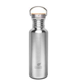 Eine Trinkflasche aus Edelstahl mit einem Henkel oben