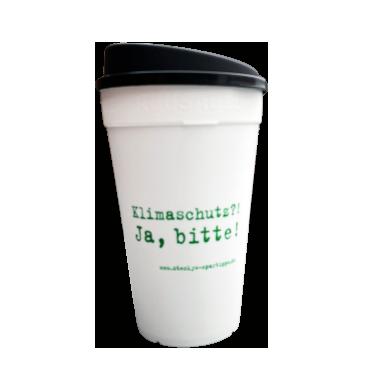 """Mehrweg-Kaffee-Becher mit der Aufschrift """"Klimaschutz?! Ja, bitte!"""""""